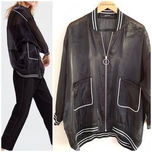 Zara | Black Organza Sheer Bomber Jacket Large
